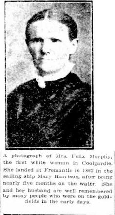 Mrs Felix Murphy - first white woman in Coolgardie with her daughter Emily. In Clara Saunders Pt Coolgardie Gold Rush Horse Feed, Gold Rush, White Women, Daughter, Woman, Daughters
