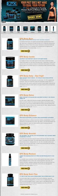 Complete list of EPX Body Products  (Thrive Energy Drink not shown) 100% Guaranteed - Money Back Guarantee    #epxbody #epxbodyproducts #epxsupplements