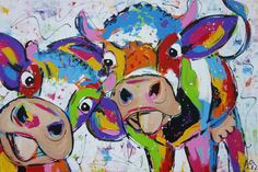 Just the two of us Handpainted cheerful cows