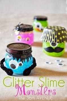 Halloween Glitter Slime Monsters