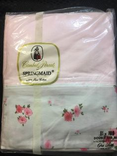 vintage springmaid combed percale double flat sheet 100 cotton pink floral