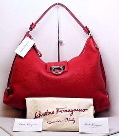 Salvatore Ferragamo FANISA Calf Leather RED LG Hobo /Shoulder Handbag /Purse NWT #SalvatoreFerragamo #Hobo NOW ON SALE!