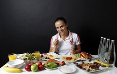 5 Olympic Diets that look healthy- This is Elif Jale Yesilirmak, 26 who sticks to 3,000 calories a day- no red meat- but yes to salmon + 5 liters of water minimum