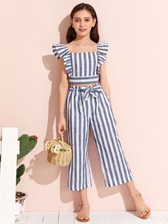 Girls Ruffle Armhole Striped Top and Tie Waist Pants Set Frocks For Girls, Little Girl Outfits, Cute Girl Outfits, Kids Outfits Girls, Little Girl Dresses, Little Girl Clothing, Cotton Frocks For Kids, Girls Dresses Tween, Kid Outfits