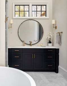 Benjamin Moore Soot Bathroom Navy Cabinet Paint Color Topped with Carrera Marble. Benjamin Moore S Large Bathrooms, Amazing Bathrooms, Benjamin Moore, Luxury Interior Design, Interior Decorating, Carrera, Navy Cabinets, Bathroom Vanity Tops, Bathroom Cabinets