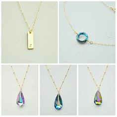 Simple crystal necklaces and initial necklaces from Aden and Claire Jewelry