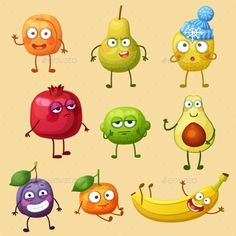 Buy Funny Fruit Character Isolated on White Background by Annzabella on GraphicRiver. Funny fruit characters isolated on white background. Fruit Cartoon, Food Cartoon, Cartoon Logo, Cartoon Drawings, Cute Drawings, Monster Illustration, Fruit Illustration, Food Illustrations, Character Illustration