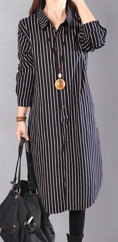 2018 black striped cotton knee dress oversized cotton clothing dress top quality long sleeve side open shirt dressesMost of our dresses are made of cotton linen fabric, soft and breathy. loose dresses to make you comfortable all the time. Edgy Outfits, Dress Outfits, Casual Dresses, Baby Dress Design, Ladies Fancy Dress, Kurta Designs Women, Kurti Designs Party Wear, Ideias Fashion, Shirt Dress