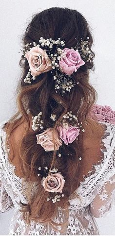 Gorgeous Wedding Hairstyles for Long Hair - Hair Styles Wedding Hairstyles For Long Hair, Pretty Hairstyles, Braided Hairstyles, Hairstyle Ideas, Short Hairstyles, Rose Hairstyle, Popular Hairstyles, Flower Hairstyles, Bridesmaid Hairstyles