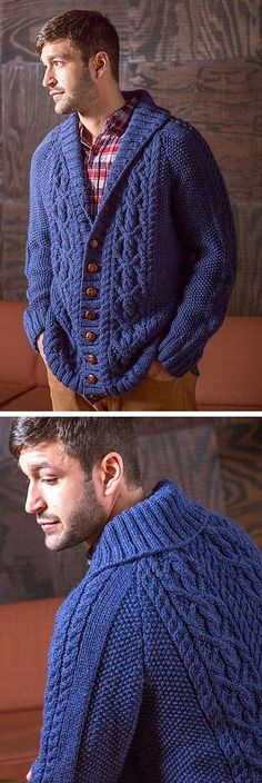 """Knitting pattern for Fiftzgerald Cardigan for men - Aran-style cable cardigan with a shawl collar and raglan shoulders. By Amy Christoffers.  Sizes Chest (closed) 36(40-44-48-52-56-60)"""" affiliate link tba"""