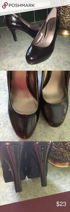 """Moda Spana Pumps Preowned-black patent leather Moda Spana heels size 9, in excellent used condition.  No holes, some unnoticeable scuffs, heel is close to 4"""". Moda Spana Shoes Heels"""