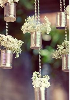 Love this lovely idea - cans with babys breath