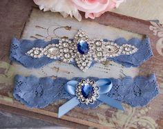 Wedding Garter Set azul azul encaje juego de liga Liga de