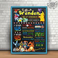 Pokemon Birthday Sign Chalkboard Pokemon birthday sign Pokemon