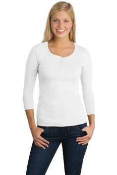 unior Ladies 3/4-Sleeve Perfect Weight Scoop Henley Shirt, Color: Bright White, Size: 2X-Large District Threads. $15.10