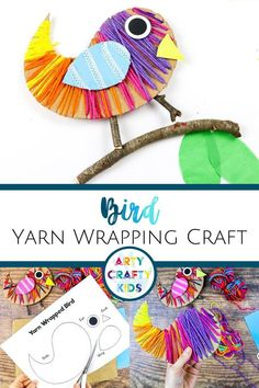 Looking for easy bird crafts for kids to make at home or in the classroom? These bird yarn wrapped crafts for kids made with lace + yarn wrapping are great fine motor skills practice for children. Get printable templates for these kindergarten / preschool bird crafts for kids + other yarn wrapping crafts for kids + easy crafts for kids here!  Yarn Crafts for Kids Weaving Projects | Yarn Wrapped Birds Craft | Yarn Wrapping for Kids | Paper Bird Crafts Ideas Animal Crafts #BirdCrafts #YarnCrafts