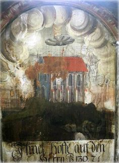 A curious disc-shaped flying object has been discovered on an old painting in the Biserica Manastirii, or Church of the Dominican Monastery, in the town of Sighisoara, Romania.An unidentified flying object is visible over the house.