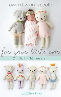 Every cuddle+kind doll is lovingly handcrafted with natural, premium cotton yarn and provides 10 meals to children in need. There are 24 award-winning, fair t Baby Shower Gifts, Baby Gifts, Everything Baby, Knitted Dolls, Future Baby, Baby Love, Baby Baby, Cuddling, Birthday Personality