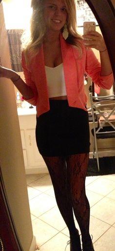 Birthday outfit idea, I'm thinking no tights though, black blazer and bright shirt!