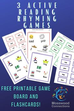 Three Reading Rhyming Games - Mosswood Connections Learning Games For Kids, Educational Activities For Kids, Reading Activities, Literacy Activities, Reading Skills, Teaching Kids, Rhyming Games, Rhyming Words, Printable Board Games