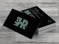 Custom business card design for Lead HR. The logo is Spot UV.