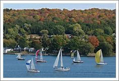 Boats on Picton Harbor, part of the Bay of Quinte in Prince Edward County, Ontario, Canada.