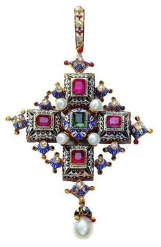 An Ernesto Rinzi cross pendant from 1860 to made of gold, rubies, emerald, diamonds, pearls and enamel. Cross Jewelry, Jewelry Art, Jewelry Accessories, Fine Jewelry, Jewelry Design, Fantasy Jewelry, Jewelry Necklaces, Gemstone Bracelets, Jewelry Making