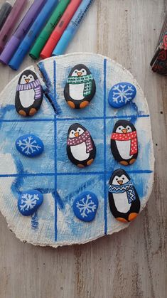 Tic-tac-toe Christmas painting So cute rock painting idea with pe., Tic-tac-toe Christmas painting So cute rock painting idea with penguins. Christmas rock painting idea with Artistro paint pens. Tic Tac Toe, Kids Crafts, Diy And Crafts, Arts And Crafts, Kids Diy, Simple Crafts, Adult Crafts, Homemade Crafts, Recycled Crafts