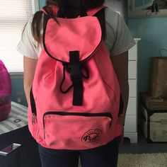 Pink back pack Bright pink backpack by Victoria's Secret. Great for the beach or pool, very big, 3 extra pockets and can fit a lot. PINK Victoria's Secret Bags Backpacks