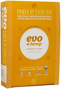 Evo Hemp Raw Organic Nutrition Bar  Pineapple Almond  169 oz  12 Pack -- Click image to review more details.