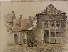 Aquarel, getiteld 'In de Achterstraat bij den Scherpenhoek te Culemborg' door L.J. Hansen, 1844