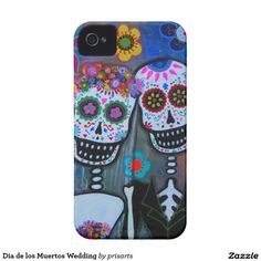 Dia de los Muertos Wedding iPhone 4 Covers; anniversary, gift, present, cool art, day of the dead painting