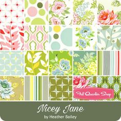 """Nicey Jane 10"""" Squares Heather Bailey for Free Spirit Fabrics - Nicey Jane - Free Spirit Fabrics   Fat Quarter Shop"""