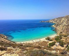 Gorgeous Livadi beach , at Donousa island (Δονούσα). Blue sea and sky meet in a perfect horizon !