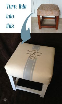 How to redo an old fashioned stool with some fake grain sack fabric | Upholster | Via www.sweethings.net