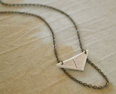 Drop Chain Porcelain Triangle Pendant Necklace by FieldAndFeather