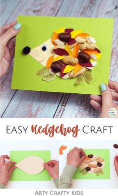 Looking for a fall leaf hedgehog craft for kids to make at home or preschool? This easy DIY hedgehog craft for kids makes a great outdoor kids activity as children gather leaves + other natural materials to make this fall craft! Get printable templates + videos for these cute preschool hedgehog crafts for kids + other fall animal crafts for kids here! Easy Woodland Animal Crafts for Kids | Hedgehog Kids Crafts | Fall Crafts for Kids Autumn Leaves | Forest Animal Crafts for Kids #KidsCrafts Fall Kid Crafts, Fox Crafts, Easy Arts And Crafts, Kids Crafts, Forest Animal Crafts, Animal Crafts For Kids, Crafts For Kids To Make, Art For Kids, Hedgehog Craft