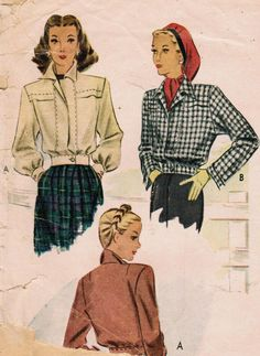 1940s McCall 6360 Vintage Sewing Pattern Misses' Sports Jackets Size 12 Bust 30. $14.00, via Etsy.