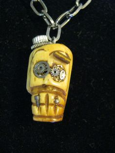 Steampunk Skull Necklace by jansbeads on Etsy, $26.00