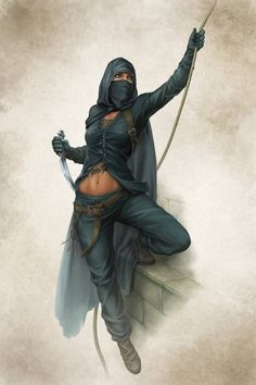 f Rogue Thief Leather Cloak Dagger Climbing rope building fog night midlvl