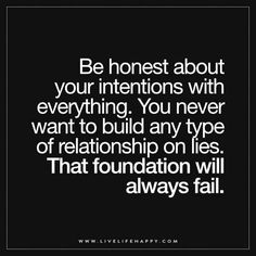 Be Honest About Your Intentions with Everything ***there's a thought***
