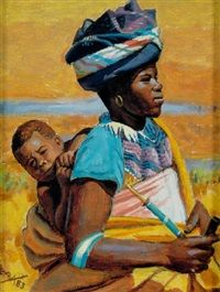 Xhosa mother and child - George Pemba - Social Realism, 1983 South African Artists, African Tribes, South Africa Art, Social Realism, Afro Art, Art File, Fine Art, Renoir, Mother And Child