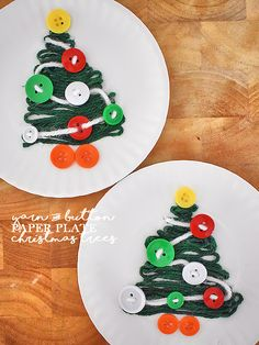 Paper Plate Yarn & Button Christmas Trees Christmas Craft
