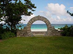 Moon Gate @ Grape Bay Beach Hotel, Bermuda. Good luck for newly weds, Bermudian tradition. #Bermuda #Weddings