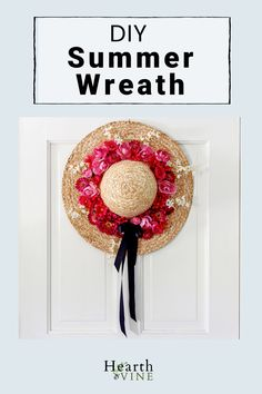 Make a bright cheery summer wreath with artificial flowers in pinks and reds and a straw hat.