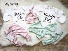 Sweet outfits for twins, super soft! Twin girls/Twin boys, girl/boy twins These can also be purchased separately! These sweet outfits are made of buttery soft and stretchy cotton lycra (aka spandex). Choose from drop down menu of your choices.. Perfect as coming home outfit,