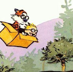 Off on another adventure! Calvin Y Hobbes, Calvin And Hobbes Tattoo, Calvin And Hobbes Quotes, Cartoon Network Adventure Time, Adventure Time Anime, Skateboard Design, Nostalgia, Forest Creatures, Fun Comics