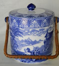 Blue Transferware Cauldon England Chariots Biscuit Barrel with original Wicker handle!  by EnglishTransferware,