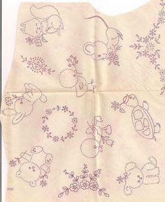 Baby embroidery motifs patterns animals rabbit turtle