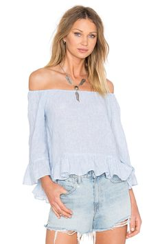 Sanctuary Julia Off the Shoulder Top in Sunbleached Stripe